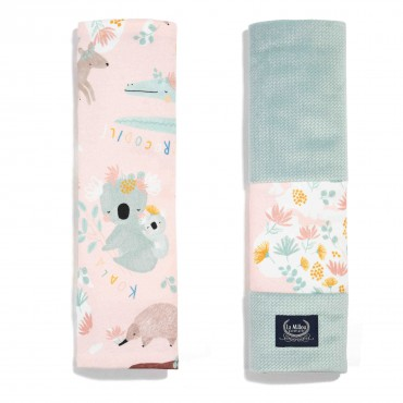 La Millou ORGANIC JERSEY COLLECTION - SEATBELT COVER - DUNDEE & FRIENDS PINK - SMOKE MINT