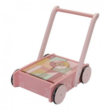Little Dutch Trolley with blocks pink Flowers