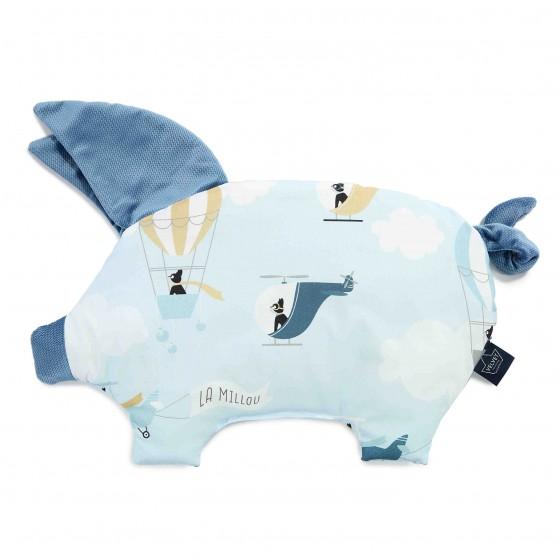 LA Millou VELVET COLLECTION pillow SLEEPY PIG CAPTAIN ADVENTURE DENIM