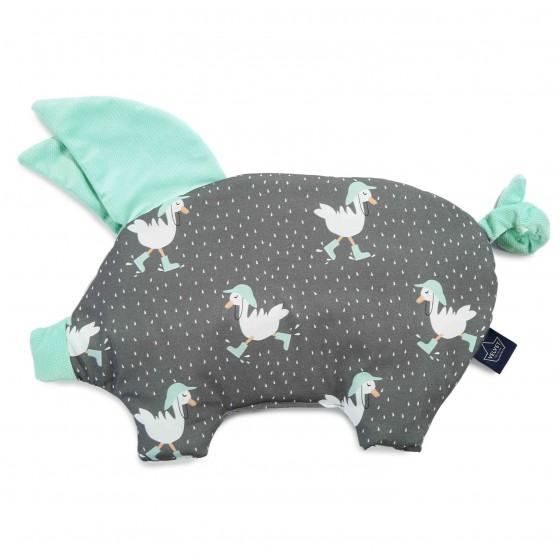 La Millou VELVET COLLECTION - SLEEPY PIG PILLOW - DANCING IN THE RAIN DARK - AUDREY MINT