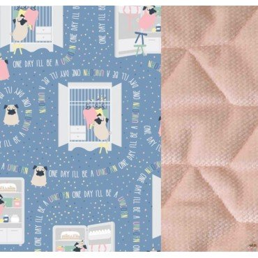 LA MILLOU STROLLER PAD VELVET COLLECTION DOGGY UNICORN STORY POWDER PINK