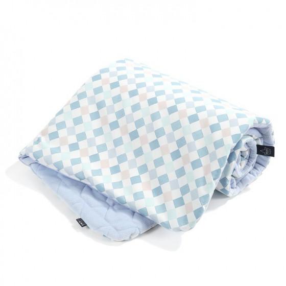 LA Millou blanket Kilkenny 80x100CM COTTON VELVET LA Millou FAMILY CHESSBOARD POWDER BLUE