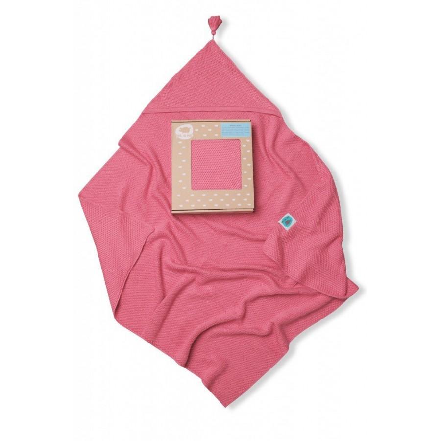 PINK NO MORE Kocyk bambusowy tkany z kapturkiem różowy