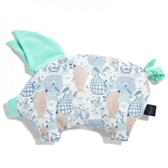 LA Millou VELVET COLLECTION pillow SLEEPY PIG FAMILY LA Millou MINT