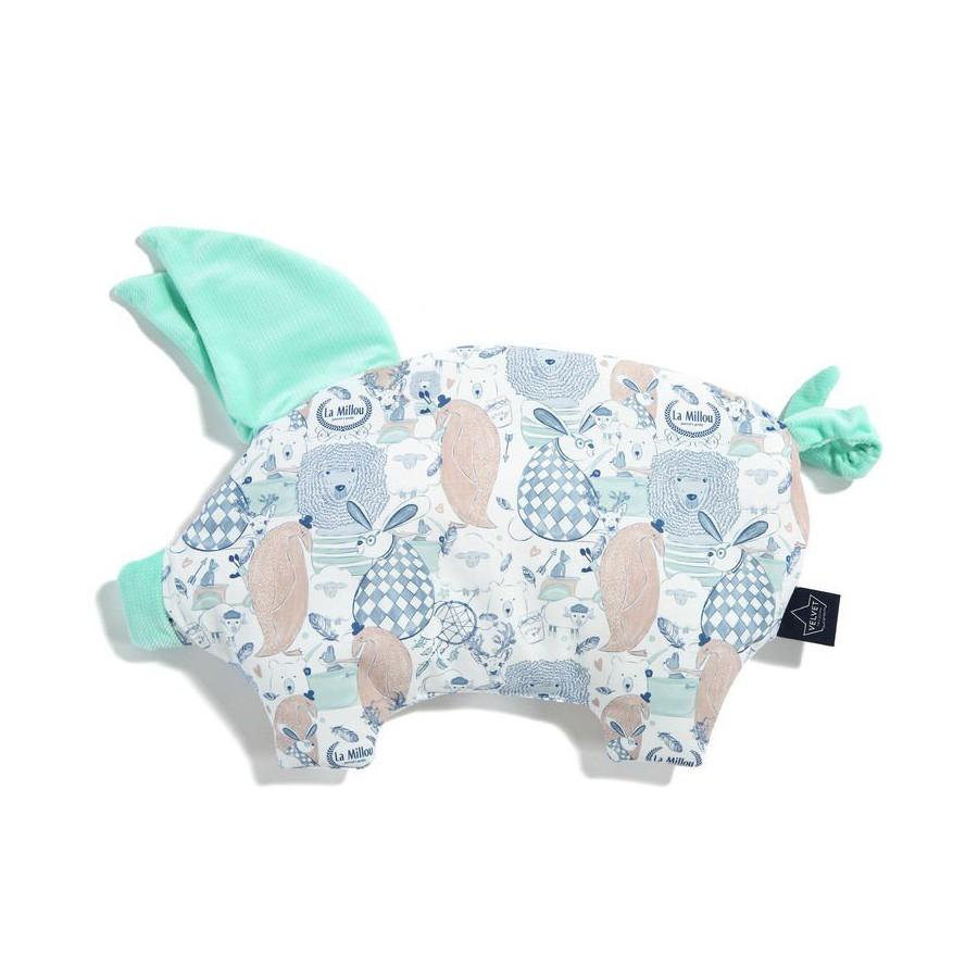 LA Millou VELVET COLLECTION pillow SLEEPY PIG FAMILY LA Millou