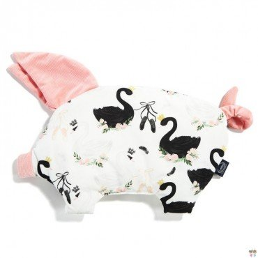 La Millou VELVET COLLECTION - SLEEPY PIG PILLOW - MOONLIGHT SWAN - POWDER PINK