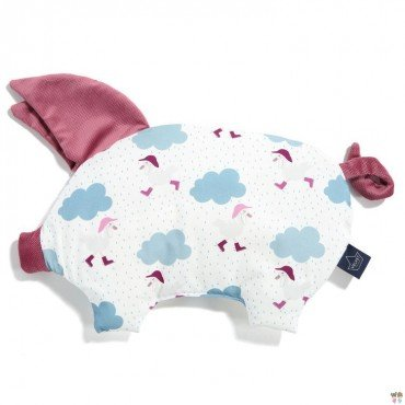 LA Millou VELVET COLLECTION pillow SLEEPY PIG Dancing in the Rain BRIGHT MULBERRY
