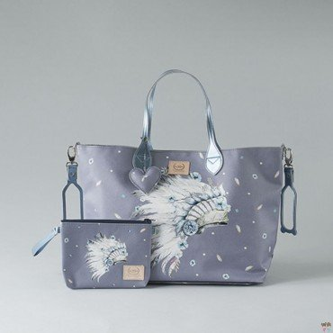BY KATARZYNA ZIELIŃSKA LA MILLOU FEERIA - MEDIUM BAG WITH A CLUTH - NAVAHO SKY - PREMIUM