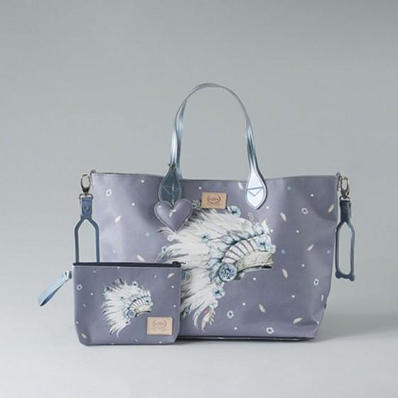 BY KATARZYNA ZIELIŃSKA LA MILLOU FEERIA - MEDIUM BAG WITH A CLUTH - NAVAHO SKY - PREMIUM
