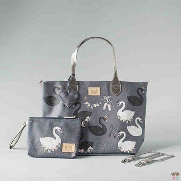 BY KATARZYNA ZIELIŃSKA LA MILLOU FEERIA - MEDIUM BAG WITH A CLUTH - BLACK SWAN- PREMIUM