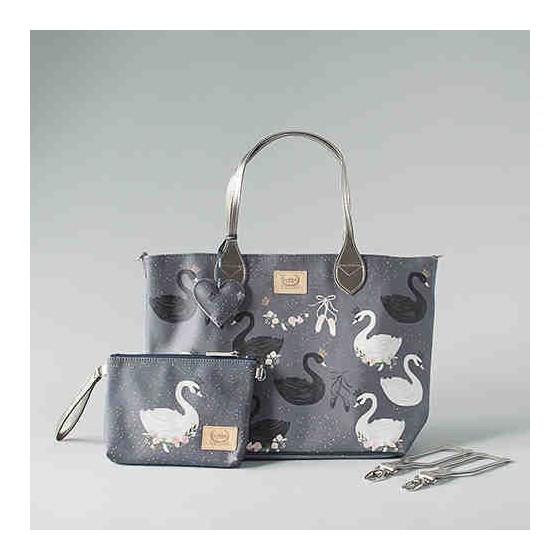 BY KATARZYNA ZIELIŃSKA LA MILLOU FEERIA - MEDIUM BAG WITH A CLUTH - BLACK SWAN- PREMIUM