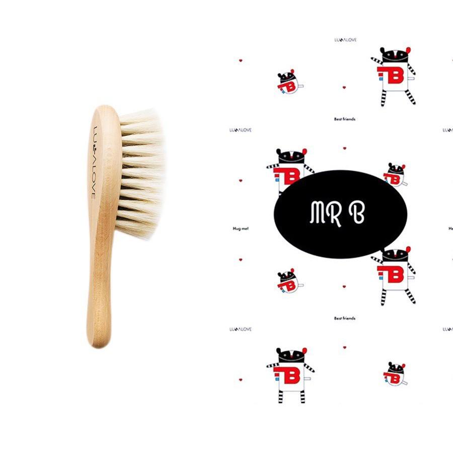 LULLALOVE SET: SOFT BRUSH WITH GOAT HAIR + B muslin WASHER MR