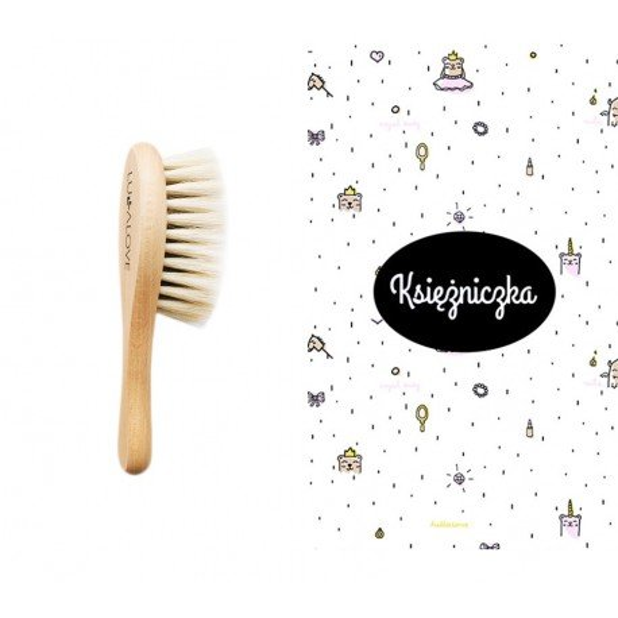 LULLALOVE SET: SOFT BRUSH WITH GOAT HAIR + muslin WASHER