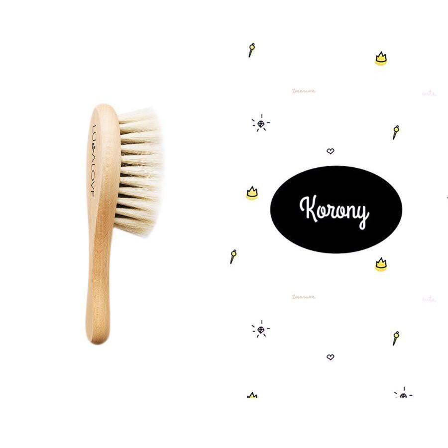 LULLALOVE SET: SOFT BRUSH WITH GOAT HAIR + muslin WASHER CROWN