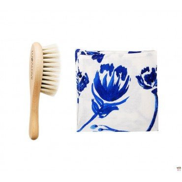 LULLALOVE SET: SOFT BRUSH WITH GOAT HAIR + muslin LAND OF MILK AND GRINDING love flow