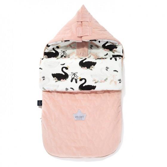 LA Millou VELVET BAG PREMIUM COLLECTION stroller sleeping bag SWAN S MOONLIGHT POWDER PINK