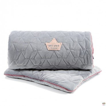 LA MILLOU VELVET COLLECTION SET KOCYK ŚREDNIAKA I PODUSIA MID PILLOW DARK GREY I PINK