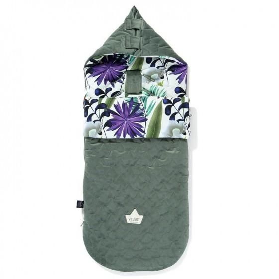 LA Millou VELVET BAG PREMIUM COLLECTION stroller sleeping bag M BOTANIC GARDEN KHAKI BRIGHT