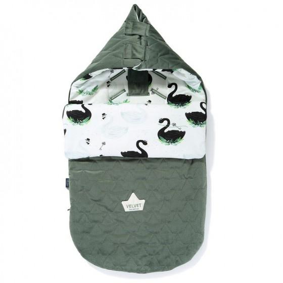 LA Millou VELVET BAG PREMIUM COLLECTION stroller sleeping bag JUNGLE SWAN S KHAKI