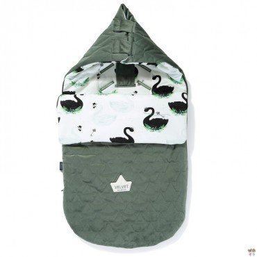 LA MILLOU VELVET COLLECTION STROLLER BAG PREMIUM ŚPIWOREK S JUNGLE SWAN KHAKI