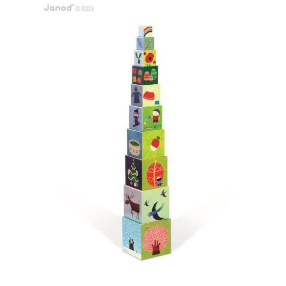 JANOD Piramida wieża 10 kostek Pory roku