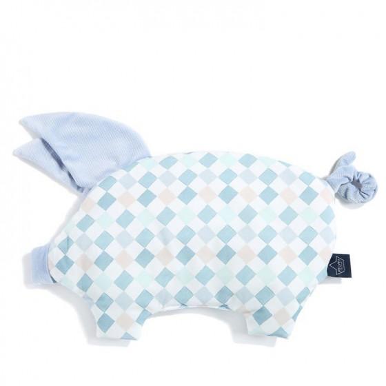 LA Millou VELVET COLLECTION pillow LA Millou SLEEPY PIG POWDER BLUE FAMILY CHESSBOARD