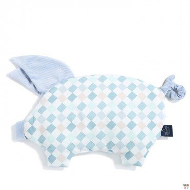 LA MILLOU VELVET COLLECTION SLEEPY PIG PILLOW LA MILLOU FAMILY CHESSBOARD POWDER BLUE